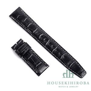 宝石広場オリジナル IWCポルトギーゼクロノ用ストラップ クロコダイル バックル用 ブラック/グレー 20‐18mm