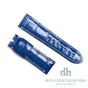 宝石広場オリジナル パネライ用ストラップ クロコダイル 尾錠用 ブルー(シャイニー)/ホワイト 24‐22mm