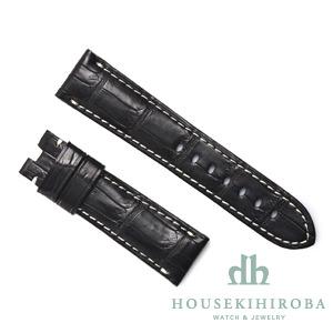 宝石広場オリジナル パネライ用ストラップ クロコダイル バックル用 ブラック/ホワイト 22‐20mm