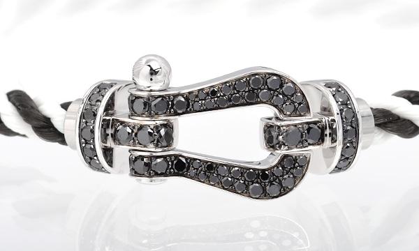 フォース10 フルブラックダイヤ ブレスレット ブラック/ホワイトテキスタイル