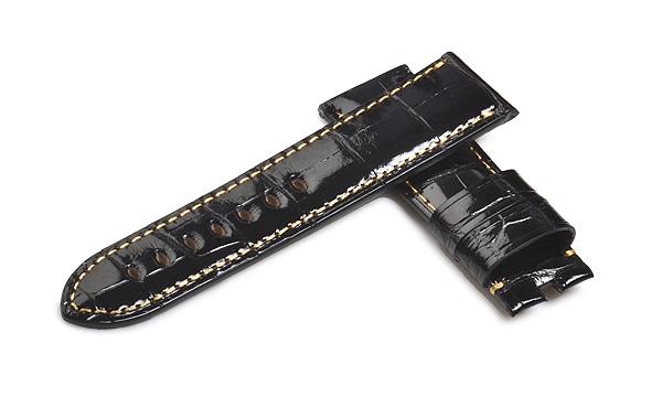 宝石広場オリジナル パネライ用ストラップ クロコダイル 尾錠用 ブラック(シャイニー)/ゴールド 24‐22mm
